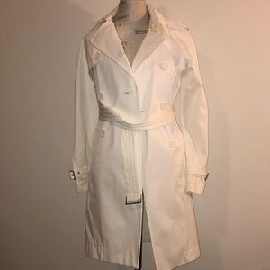 Off White Buttoned Trench Coat